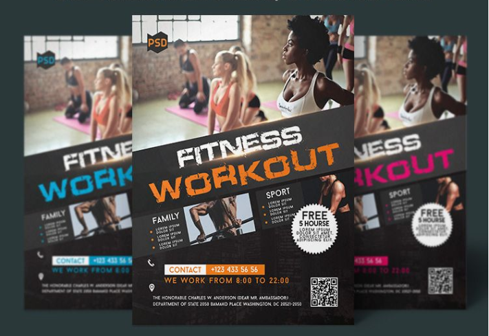 Free Fitness Flyer Template Mockup Free Downloads