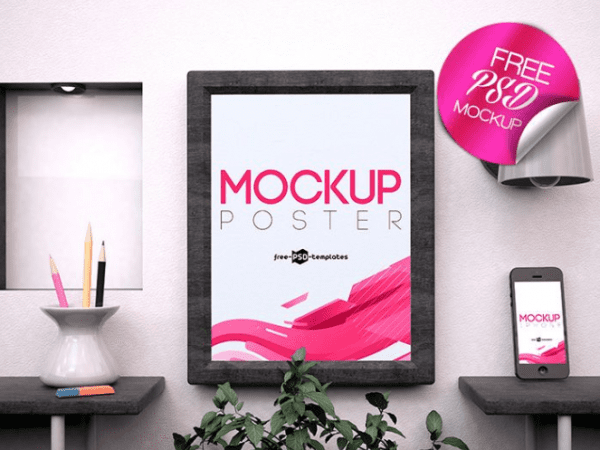 Free Poster PSD MockUp Template