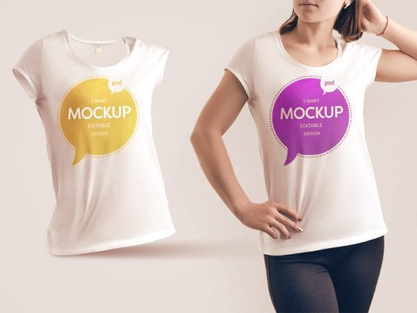 Free Woman T shirt Mockup Template