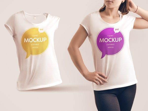 Free Woman T shirt Mockup Template