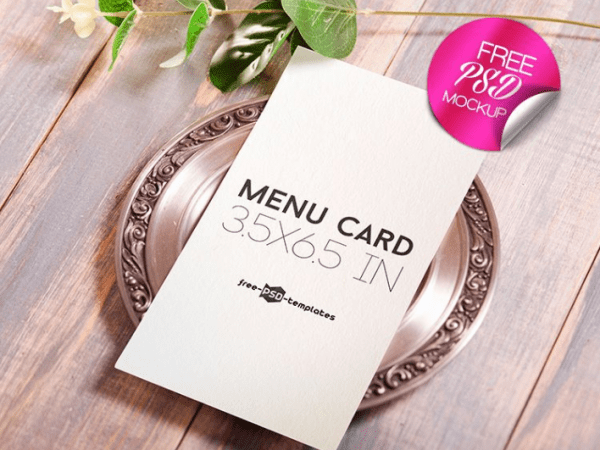 Menu Card Mockup PSD Template