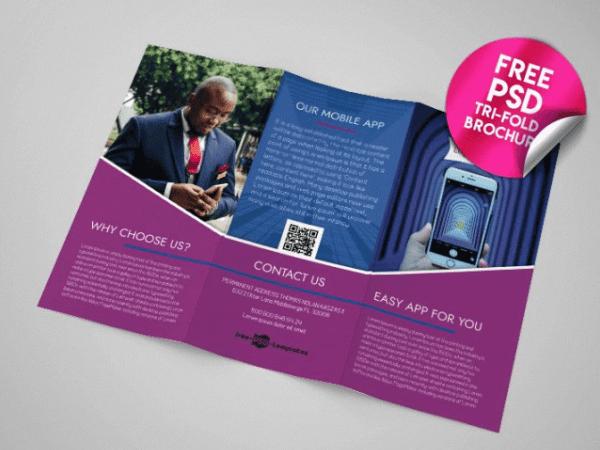 Mobile App Tri fold Brochure PSD Mockup Template