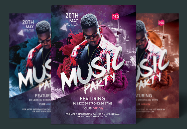 Music Party Flyer PSD Template