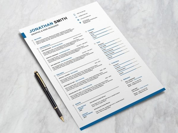 Preppy Resume PSD MockUp Template