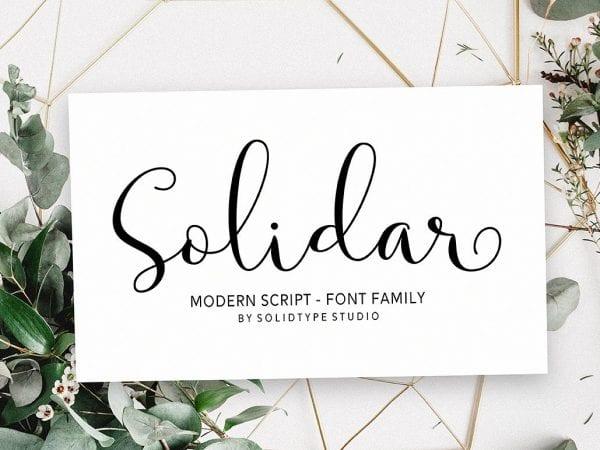 Solidar Modern Script Typeface