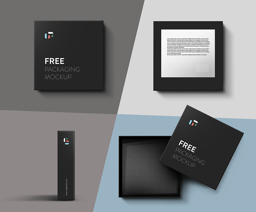 square box mockup psd template