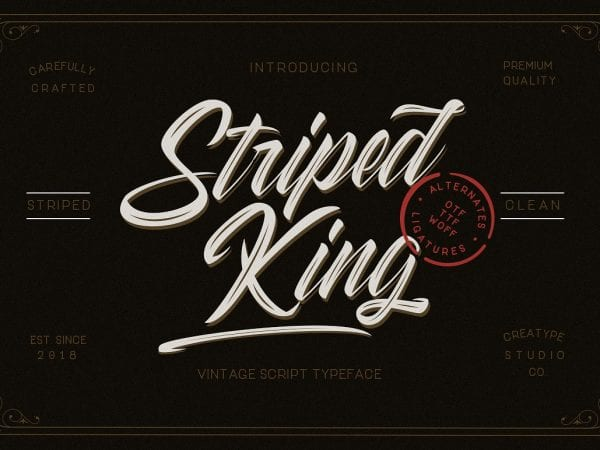 Striped King Vintage Script Typeface