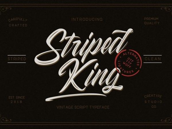 Striped King Vintage Script Typeface