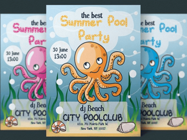 summer pool party flyer archives mockup free downloads
