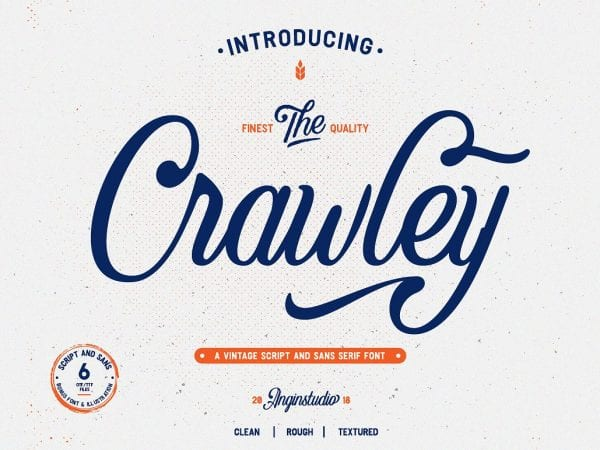The Crawley Free Vintage Script Typeface 1