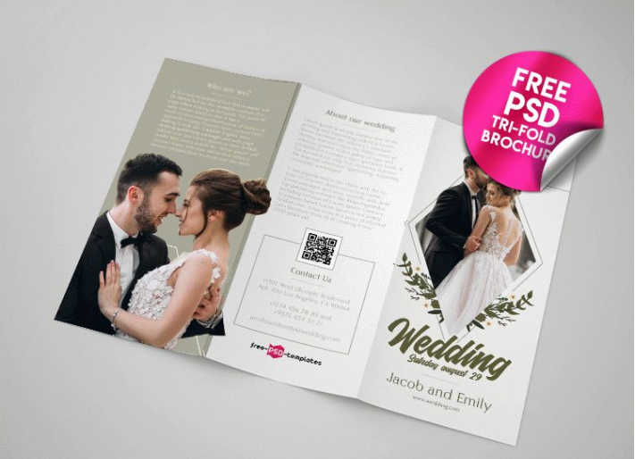 Wedding Tri fold Brochure PSD MockUp Template