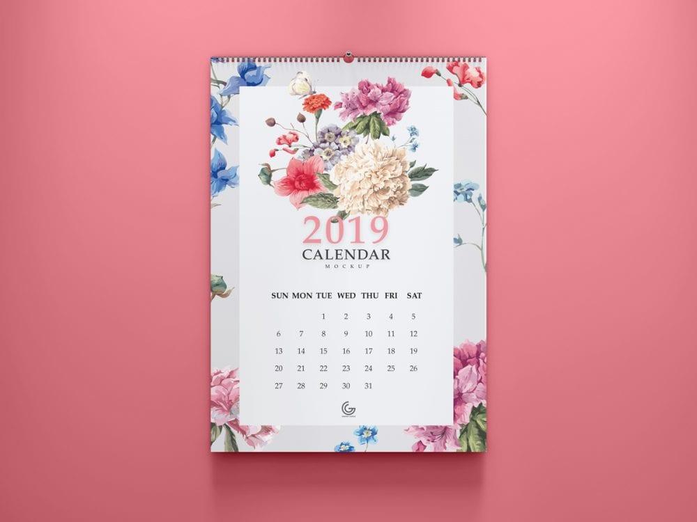 2019 Calendar Mockup PSD Template
