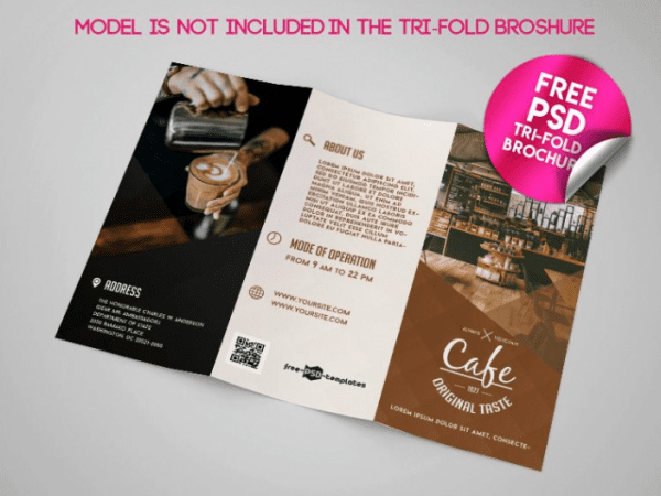 cafe tri fold brochure mockup psd template