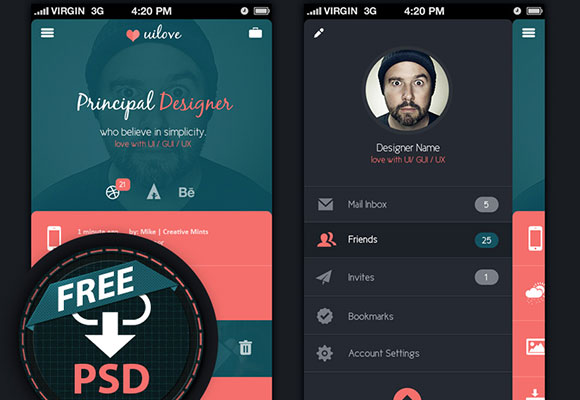Free App UI concept PSD MockUp