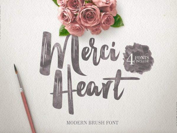Merci Heart Modern Brush Script Font