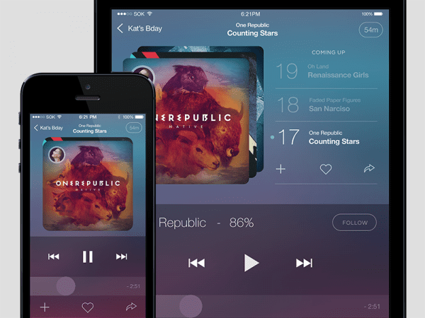 Mobile Music Player PSD Template
