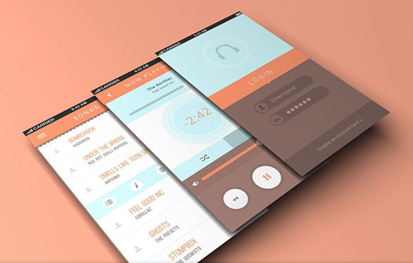 Music App For Mobiles PSD Template