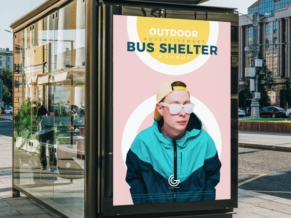 Outdoor Bus Shelter Advertising PSD MockUp Template