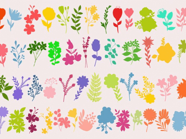 Pack Of Flower Shadow Vector Elements