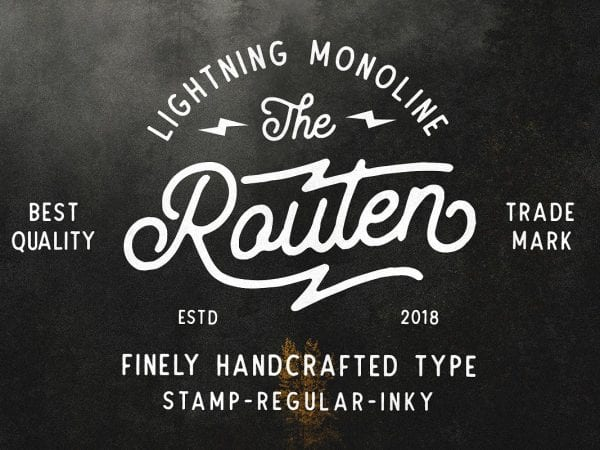 Routen Lightning Free Handcrafted Font