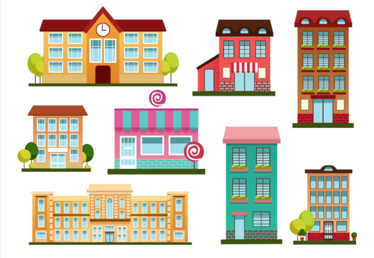 Set Of Building Vector Free Download