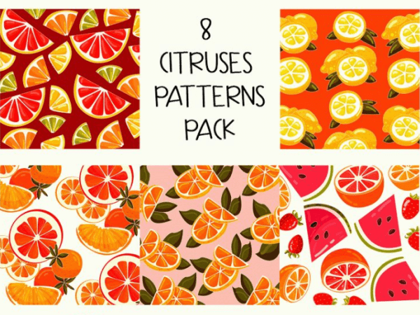 Set Of Citruses Free Patterns
