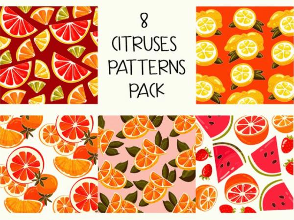 Set Of Citruses Free Patterns