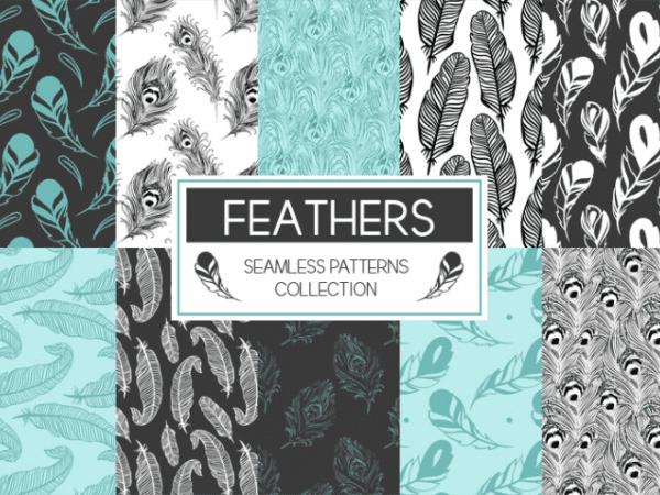 Set Of Feathers Seamless Pattern