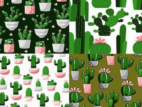 Set Of Free Cactus Pattern
