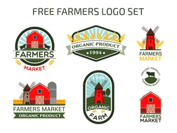 Set Of Free Farm Logo Design Templates