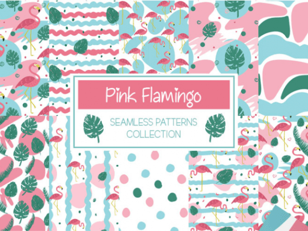 Set Of Free Pink Flamingo Pattern