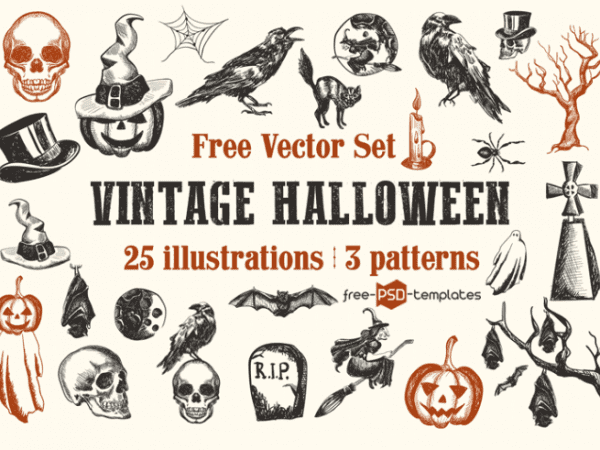 Set Of Free Vintage Halloween Vector