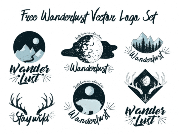 Set Of Free Wanderlust Logo Vectors