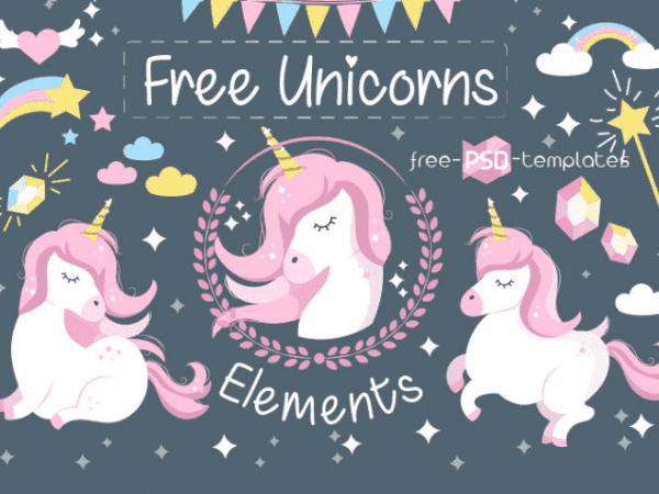 Set Of Unicorn Vector Elements