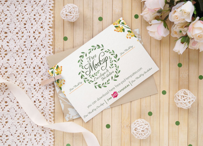 Wedding Invitation Card Mockup Psd Templates Mockup Free