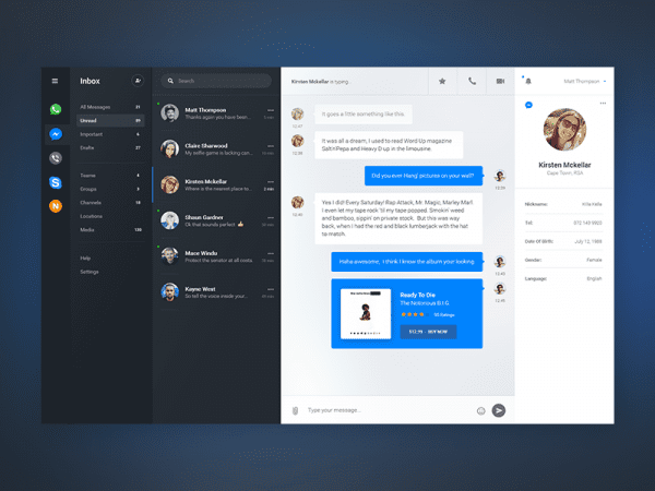 Chat Dashboard App In PSD