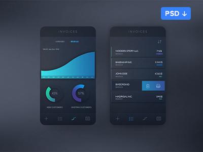 Free Invoice App Concept PSD Template