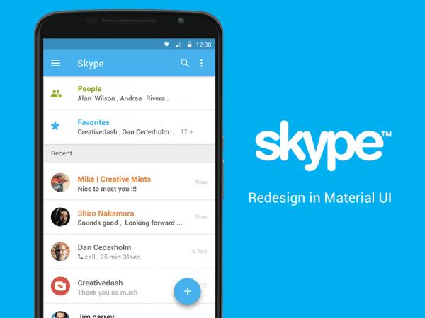 Free Skype App Material UI Concept