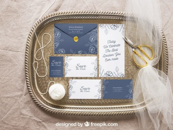 Free Wedding Stationery MockUp In PSD