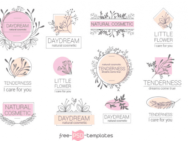 Set Of Feminine Logo Vectors