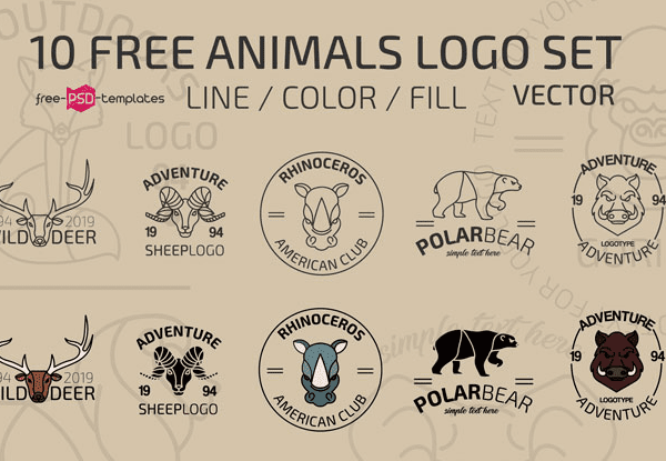 Set Of Free Animal Logo Design