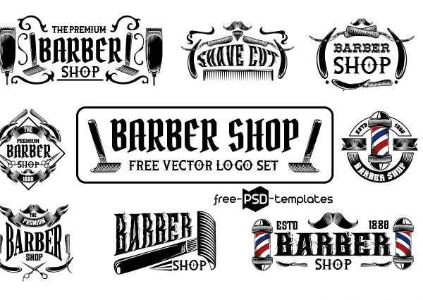 Set Of Free Barber Shop Logo Vector