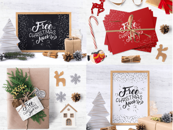 Set Of Free Christmas Mockup