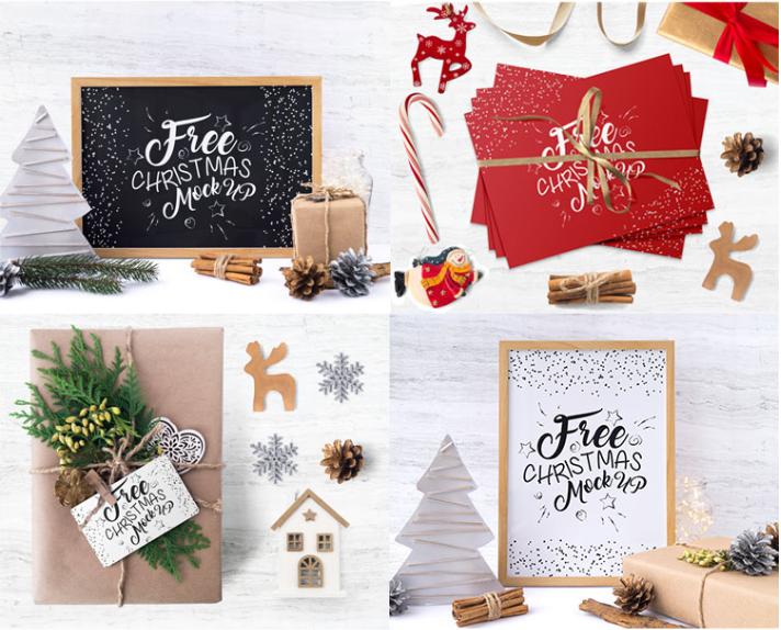 Set Of Free Christmas Mockup