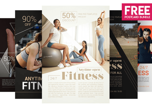 Set Of Free Fitness Flyer Design