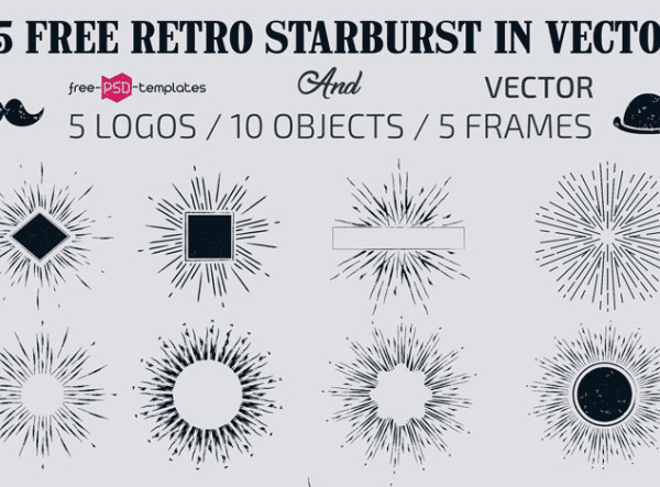 Set Of Free Retro Starburst Vector