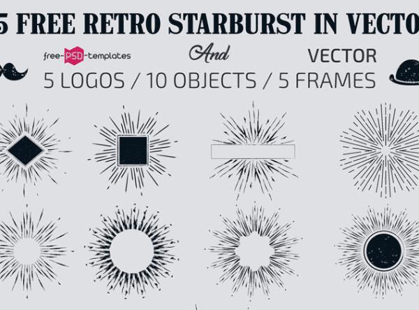 Set Of Free Retro Starburst Vector