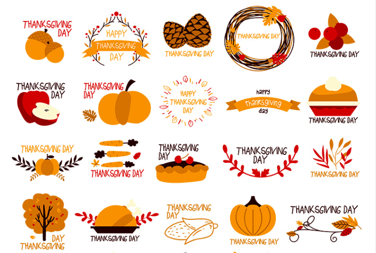 Set Of Free Thanksgiving Day Vector