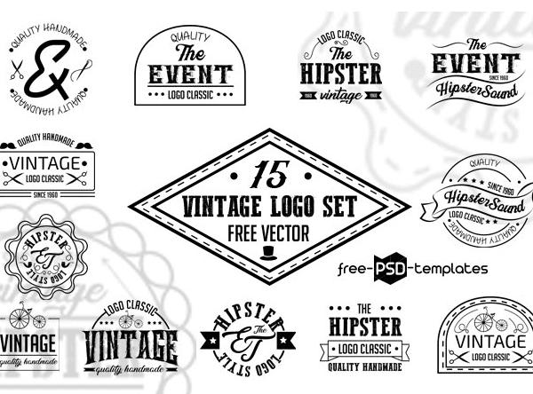 Set Of Free Vintage Logo Vector