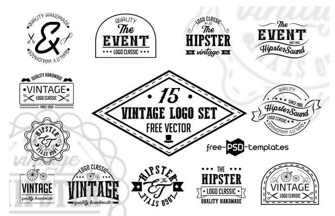 Set Of Free Vintage Logo Vector